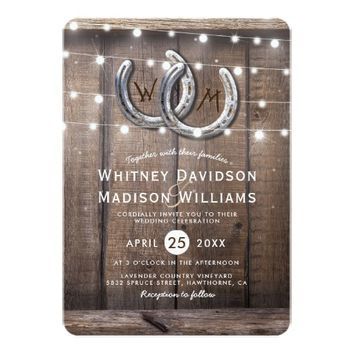 Rustic Country Horseshoe Twinkle Lights Wedding Card