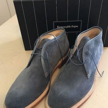 New $595 Ermenegildo Zegna Suede Ankle Boots Navy Blue 10.5 US Italy
