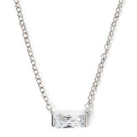 Rectangle-Shaped Rhinestone Charm Necklace