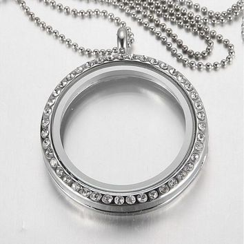 (Free Chains) New Fashion Round Crystal Pendant Silver Rhinestone Floating locket Memory Living glass Locket Necklace for women