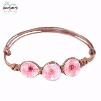 bracelets Multi-style dry flower glass ball bracelet Hand-woven Transparent Glass Dried Flowers Wax Rope Leather Bracelet