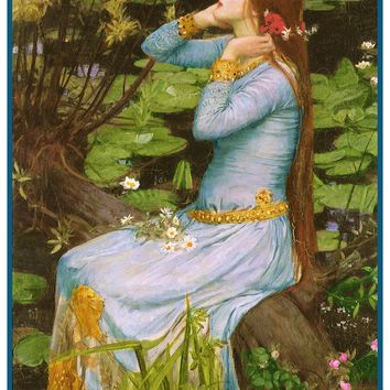 Ophelia inspired by John William Waterhouse Counted Cross Stitch or Counted Needlepoint Pattern