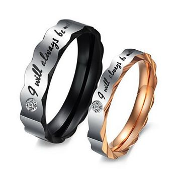 "Men's Wide 6mm ""I Will Always Be with You"" Stainless Steel Ring Band CZ Black Silver Valentine Love Couple Wedding Engagement Promise Size10"