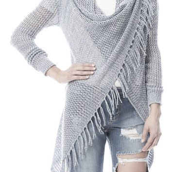 Carys Open Weave Crochet Fringe Sweater (Grey)