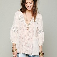 Free People  Printed Bubble Sleeve Top at Free People Clothing Boutique