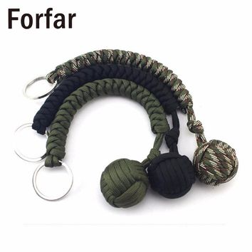 Forfar Strand Stainless Steel Ball Pendant Paracord Parachute Cord Key Chain Outdoor Climbing Umbrella Rope Survival Kits