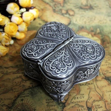 Free Shipping - Fashion Metal Jewelry Box Trinket Case Vintage Flower Carved Butterfly Shaped Pewter Gift