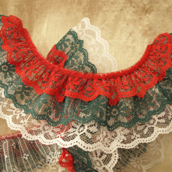 Gathered Triple Ruffled Lace, Red Hunter Green and White Lace, Apparel, Doll Clothes, Decorative Lace Trim, Christmas Lace, Crafting Lace