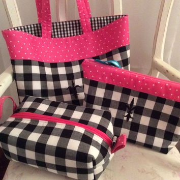 Black and White Gingham 3 Piece Monogrammed Travel Set