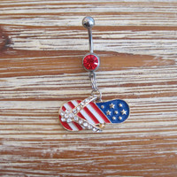 Belly Button Ring - Body Jewelry - Stars & Stripes Rhinestone Flip Flop with Red Gem Stone Belly Button Ring