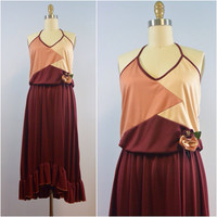 Vintage 70s Halter Top, Maroon Color-block, High Low Dress by Estivo