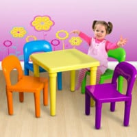 Toy Activity Furniture In-Outdoor-Kids Table and Chairs Play Set Toddler Child