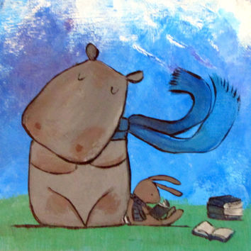 Hippo Nursery Art, Bunny Rabbit Friend Painting, Reading Time Illustration, Wall Art for Kids, Childrens Room Decor, Original Art for Babies