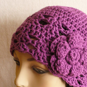 Crochet Beanie Hat Cloche 1920s Flapper Style Hat with Flower Mauve