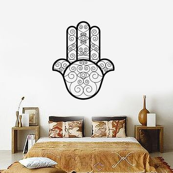 Vinyl Decal Wall Sticker Hamsa Amulet Arabic Protective Room Decor Beautiful Ornament Unique Gift (ig2082)