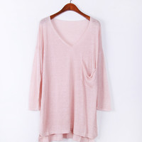 A 082714 s Pure linen pocket pullover blouse