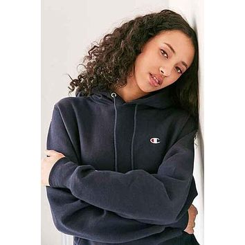 Champion Fashion Sport Hoodie Drawstring Top Sweater Sweatshirt Black