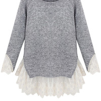 Lace Splicing Long Sleeves Knitwear