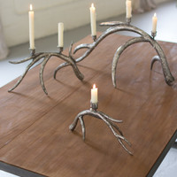 Set of 3 Metal Antler Taper Candle Holders - Ant Silver