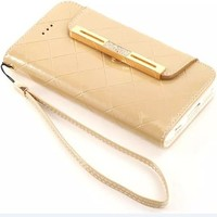 6S Case,Candywe iphone 6S Leather,iPhone 6S Wallet case,Elegant Design Wallet Leather Case Cover for iPhone 6S With Strap Gold