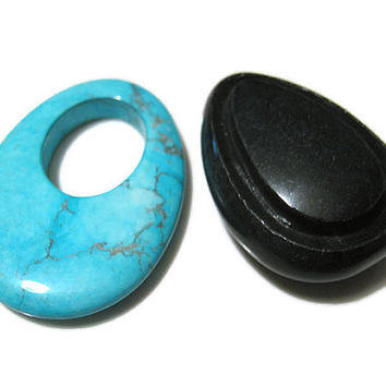 Faux Turquoise and Carved Blackstone Focal Bead Lot