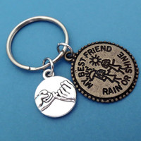 Best Friend, Rain or shine, Promise, Keychain, Keyring, Key, Chain, Gift, For Bestfriend, Promise, Accessory, Anna and Elsa, Frozen Inspired