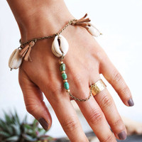 BSR-01, Free U.S. Shipping, brass slave ring/bracelet with turquoise, cowrie shells and tassels
