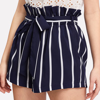 Belted Ruffle Waist Striped Shorts