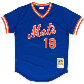 LMFNW6 Mitchell Ness Darryl Strawberry 1986 Authentic Mesh BP Jersey New York Mets
