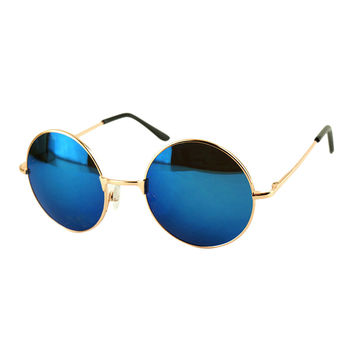 Blue Round Mirror Lens Metal Frame Sunglasses