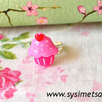 Kawaii Cupcake With Heart  Ring, Sweet Adjustable Miniature Food Ring, Resin Cabochon Pink Cake Ring - Nickel free