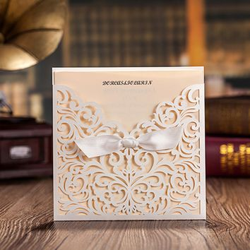 White Square Laser Cut Flower with Bowknot Lace Pocket Engagement Wedding Invitations CW5002 Card,50 Pcs/Lot