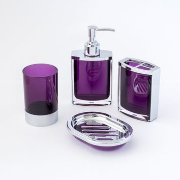 JustNile 4-Piece Bathroom Accessory Set - Vogue Translucent Purple