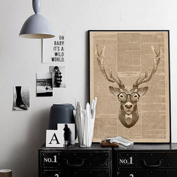 Deer Hipster  Poster Art Print deer Illustration Acrylic Painting deer print Wall Decor Wall hanging Wall Art gift for men him NEWSPAPER ART