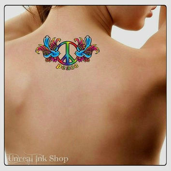 Temporary Tattoo 2  Heart Peace Sign Waterproof Fake Tattoos Thin Durable