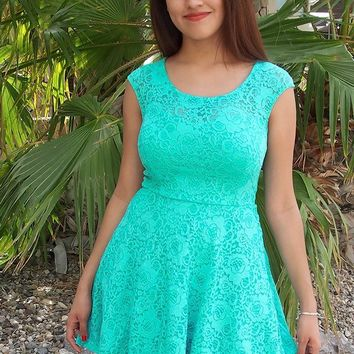 Capturing The Moment Mint Green Floral Lace Skater Dress