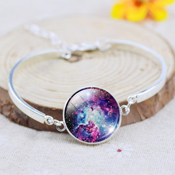 2015 Unique Fine Jewelry Glass Galaxy Cabochon Charm Bracelets&Bangles For Women silver plated jewelry Women Bracelet