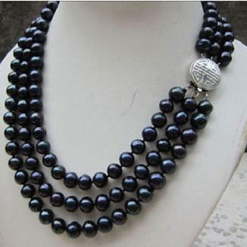 3 Row 9-10Mm Tahitian Black Pearl Necklace