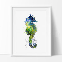 Sea Horse Watercolor Print,  SeaHorse Art Print, Watercolor Print Seahorses Home Decor Poster, Giclee Abstract Painting (53)