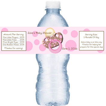 Pink Baby Shower Water Bottle Labels