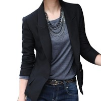 Black Women Single Button Blazer