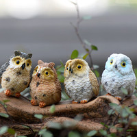 XBJ010 Terrarium Decor 1 PC Cute Owls Animal Resin Miniatures Figurine Craft Bonsai Pots Home Fairy Garden Ornament Decoration