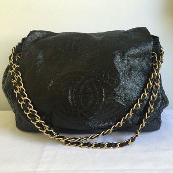Chanel Black Patent Rock & Chain Quilted Sides Flap Bag