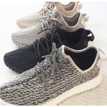 """Adidas"" Women Yeezy Boost Sneakers Running Sports Shoes Grey black"
