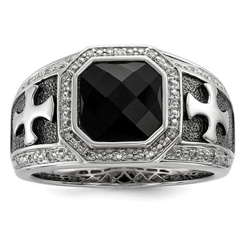 Black Onyx & Diamond Octagon & Cross Tapered Ring in Sterling Silver