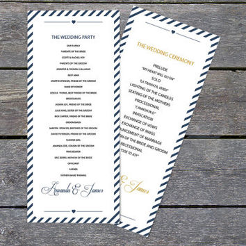DIY Wedding Program Template - Navy Carnival Stripes Tea Length Printable Program - Instant Download - Adobe Reader Format - DIY You Print