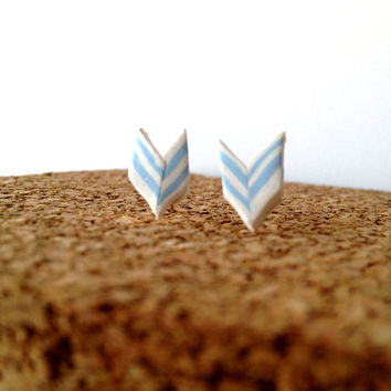 Chevron Stud Earrings by CasaAndCo on Etsy