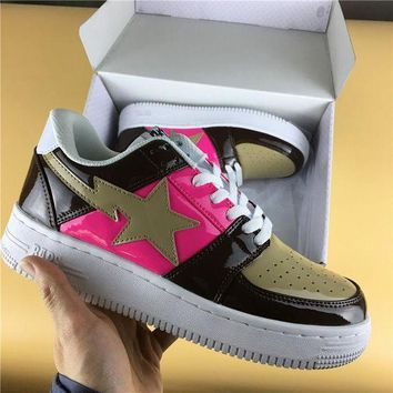 PEAPUX5 Foot Soldier BAPE STA Coffee-Pink Star Sneaker Shoe 36-45