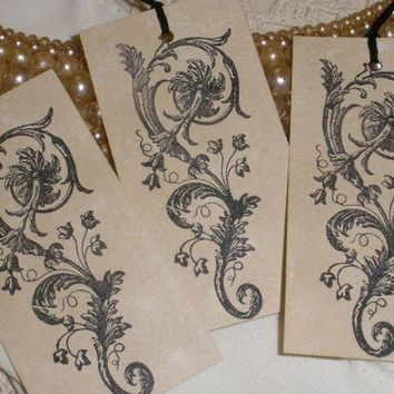 French Inspired Elegant Scroll Tags Set of 10