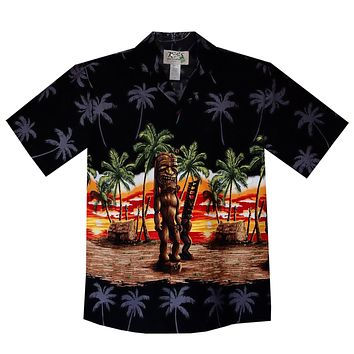 Tiki Black Border Hawaiian Shirt